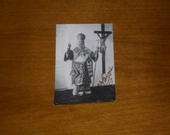 1945 black and white photo of  a Greek Orthodox Priest, signed. Antique photo, vintage photo, black and whtie photo, Orthodox priest photo!