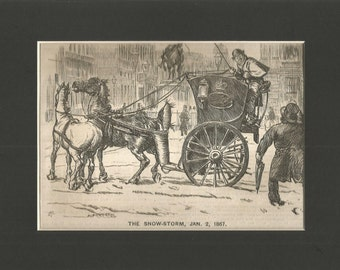 mounted punch vintage 1867  cartoon title in a snowstorm  wall art