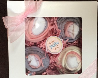 Boxed set of 4 baby  Onesie Cupcakes Pink Gray Shower gift  Bunny Rabbit