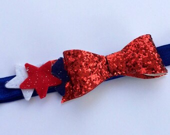 4th of July Baby Headband. Red, White and Blue Headband.