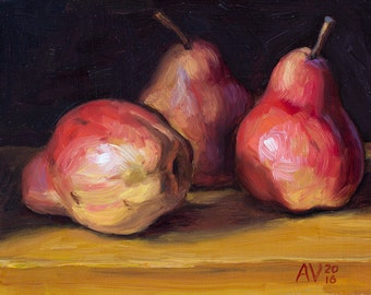 Red Pears Original Oil Painting Still Life by Aleksey Vaynshteyn