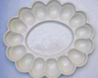 New Ceramic 15 Divot Deviled Egg Plate, Oval