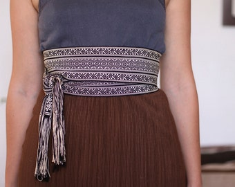 Vintage mexican loom woven sash belt.