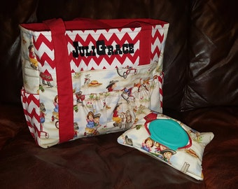 Vintage Cowgirl Diaper Bag and Wipe Cover, Cowgirl Diaper Bag, Cowgirl Tote, Western Tote, Western Diaper Bag, Rustic Style bag