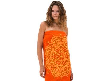 FREE SHIPPING Towel Mandala Art Bath Towel Designer Bathroom Accessories in Orange and Yellow