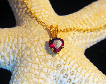 "Valentine GARNET Necklace, Heart shaped GARNET- A+ grade, 5x5 HEART Natural, 14K Gold-Filled Necklace with 16"" Long 14K Gold-filled Chain"