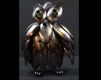 Handmade Recycled / Repurposed Silverware Art Owl