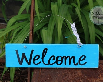 Hanging Welcome Sign - Teal Welcome Sign - Front Door Sign - Home Decor - Outdoor Sign