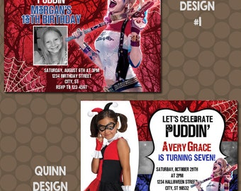 Harley Quinn Birthday Party Invitations Printable Uprint Digital Printed Options * 6 Designs * READ DESCRIPTION*