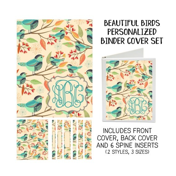Beautiful Birds Printable Binder Cover Set with Front & Back Covers and Spine inserts - Personalized- Dress up Your Three Ring Binder!