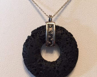 Sterling silver Lava Donut Necklace