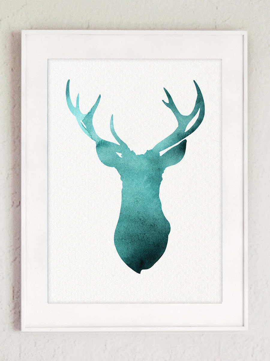 Horns Art Print Deer Silhouette Teal Watercolor Painting