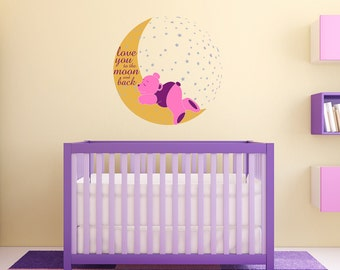 Nursery Wall Decal - Love You to the Moon and Back Sleeping Teddy