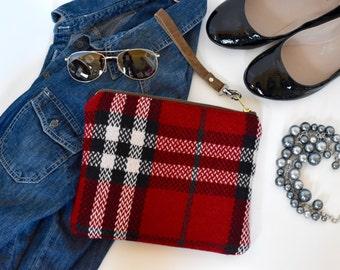 Wool clutch, Red wool plaid clutch, red wool plaid wristlet, tablet case, wristlet, red and black plaid clutch, winter clutch, wool wristlet