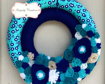 Everyday Wreath - Double Wreath - Blue Wreath - Felt Flower Wreath