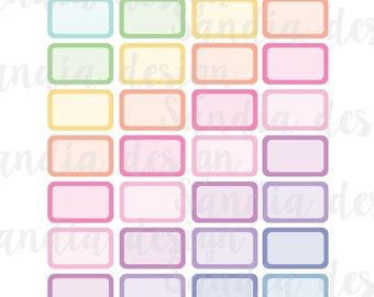 Printable Half Box Planner Stickers, Rainbow and Pastels, perfect for EC Planner and other Planners.