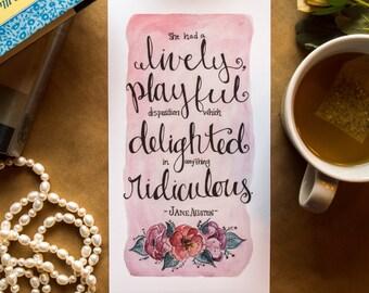 "Jane Austen Quote, Pride and Prejudice, 10x5.5"" Print, Watercolor, Hand-Lettering"