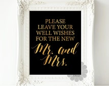 Please leave your well wishes for the new Mr and Mrs - wedding guestbook, guest book, art print, wedding sign, wedding decoration, gold sign