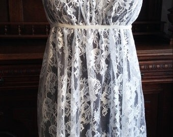 White Transparent Lace Nightgown Bridal Lingerie Wedding Honeymoon Summer Cruise Sleepwear Spaghetti Strap