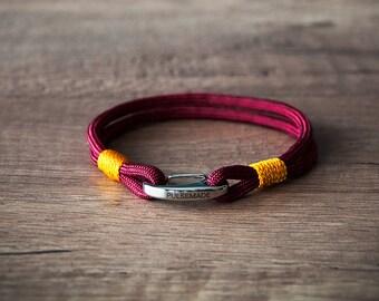 Sailor Bracelet men-Women, jewelry for men women, nautical bracelet burgundy-goldenrod, Christmas gift, bracelet for her and him