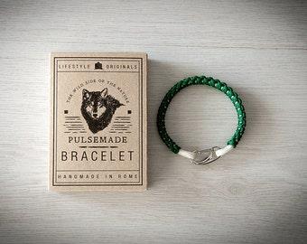 Crab Bracelet men-Women, jewelry for men women, urban bracelet Kelly Green-white, Valentine's Day gift, bracelet for her and him