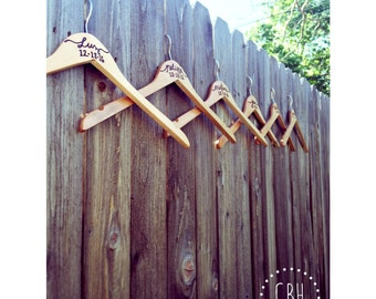 Wood Burned Bridal Hangers