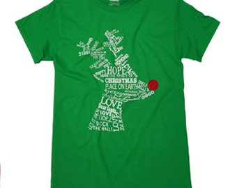 Wordy Reindeer Green Christmas T-shirt was 16.65 NOW 9.97