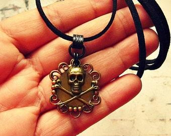 Antiqued Brass Skull And Crossbones Necklace, Pirate Jewelry, Pirate Jewellery, Pirate Garb, Pirate Accessories, Salvina's Treasures
