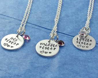 3 Sister necklace sister necklace for 3, 2 Sister necklace sister necklace for 2, Big sister gift big sister little sister