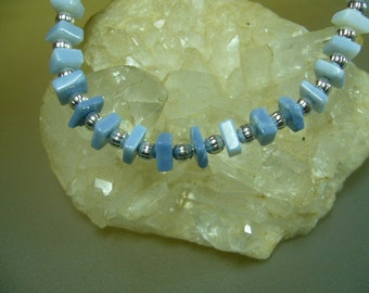 Blue Opal 4.5mm Square Heishi Beads Set of 21 Sample Strand