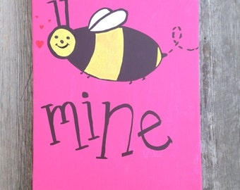 Bee Mine Valentine Hot Pink Canvas Love Decor Romantic Wall Art