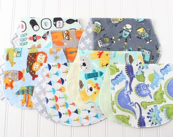 Baby Boy Burp Cloths - Set of 7