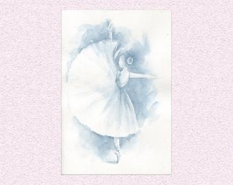 Watercolor painting Ballerina in navy blue - original whimsical ballet dancer artwork - Dancing girl on points, art wall decor