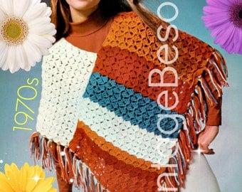 Poncho Crochet Pattern Retro 1970s Easy Crochet Pattern Shell Stripe Shawl Crochet Pattern Instant Download PDF Pattern Vintage Beso