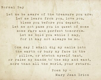 Normal Day- Full Poem By Mary Jean Irion