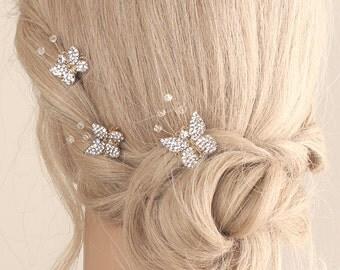 bridal crystal hairpiece, bridal crystal pin, wedding hair accessories, wedding hairpiece, crystal hair pins, bridal hairpiece- set of three