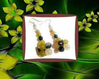 Forest honey,long green yellow exclusive handmade gemstones earrings, emerald jade fashionable gift for her, emerald earrings, long earrings