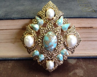 Vintage Turquoise and Pearl Sarah Coventry Signed Brooch
