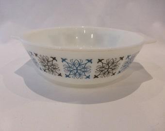 SALE - JAJ Pyrex single casserole dish  - Chelsea pattern - original from the 1960's - was GBP7, now GBP5