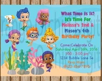 "BUBBLE GUPPIES Birthday Invitations- Bubble Guppies Party- SIBLING Bubble Guppies Invites-5"" X 7"" image-Digital Download-Print at Home"