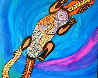"Lizard Goanna aboriginal art style original painting mixed media on canvas 16x16"" or 40x40 cm"