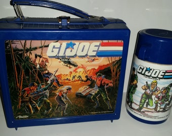 Vintage Rare 1986 G.I. Joe Real American Hero Alladin Collectible Lunch Box With Matching Thermos. In Great Condition