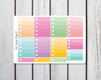 Cupcake Ombre Heart Checkboxes Planner Stickers Designed for Erin Condren Life Planner Vertical