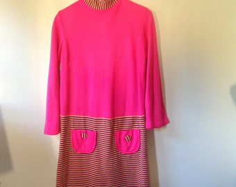 60s mod , swinger dress. Poly wool blend, awesome psychadelic colours