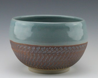 Chattered Ceramic Serving Bowl with Clear Blue Glaze, Iron Oxide Wash