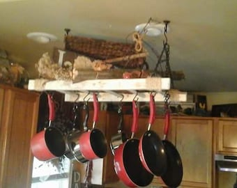 Rustic Ladder Pot Rack by Rustic Reflections