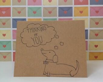 Thinking of You Dachshund Greeting Card, Wiener Dog Card