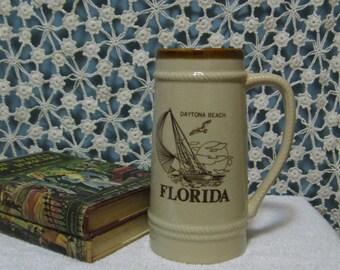 "80's Tall Daytona Beach FLORIDA Stein Souvenir - Stoneware Heavy Stein - 8"" Tall Beer Stein - Florida Beer Stein"