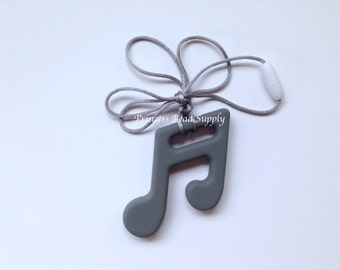 Gray Silicone Music Note Teether,  Gray Music Note Pendant, Silicone Music Note, Food Grade Silicone Sensory Teether