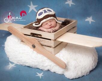 Crochet Aviator Hat, newborn to 3-5 years, made to order